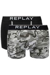 Replay Bokser spodnjice Boxer Style 8 Cuff Logo&Camouflage 2Pcs Box - Black/Camoufl Grey M