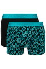 Replay Bokser spodnjice Boxer Style 3 T/C All Over Logo 2Pcs Box - Emerald/Black XXL