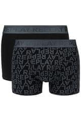 Replay Bokser spodnjice Boxer Style 3 T/C All Over Logo 2Pcs Box - Anthracite/Black S