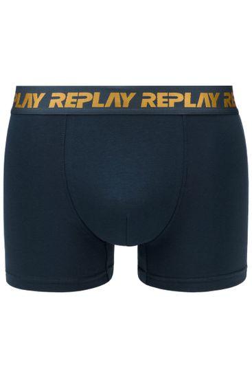 Replay Bokser spodnjice Boxer Style 6 T/C Metallic Cuff 2Pcs Box - D Blue/Black/Bronze