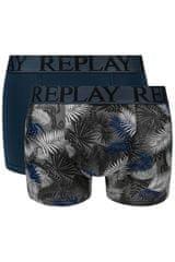 Replay Bokser spodnjice Boxer Style 7 T/C Foliage 2Pcs Box - Dark Blue/Black L