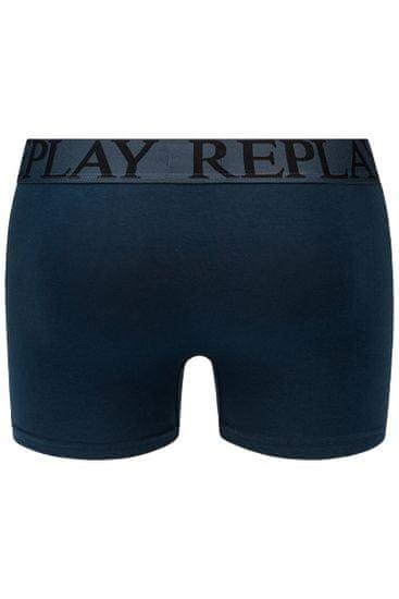 Replay Bokser spodnjice Boxer Style 7 T/C Foliage 2Pcs Box - Dark Blue/Black