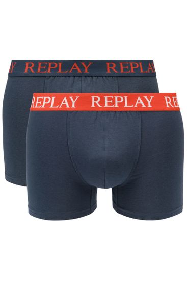 Replay Bokser spodnjice Boxer Style 01/C Basic Cuff Logo 2Pcs Box - Dark Blue/Mamdarine