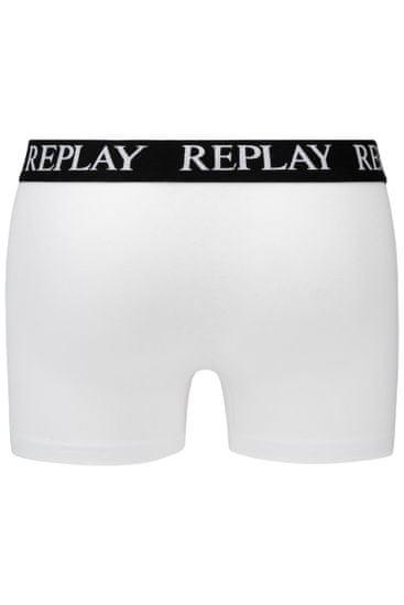 Replay Bokser spodnjice Boxer Style 01/C Basic Cuff Logo 2Pcs Box - Whitee/Grey Melange