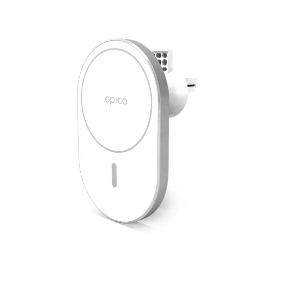 EPICO Ellipse Wireless Car Charger (MagSafe compatible) magnetno polnilno stojalo, 15W/10W/7,5W + 18W QC (9915111100037), Silver