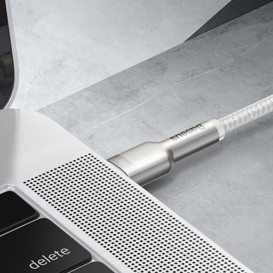 BASEUS Cafule Series USB-C / USB-C töltő- / adatkábel fém végződéssel, 100W, 1 m, CATJK-C02, fehér