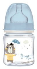 Canpol babies Széles szájú cumisüveg BONJOUR PARIS, 120ml, kék