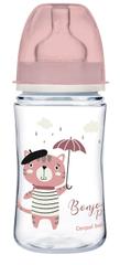 Canpol babies Széles szájú cumisüveg BONJOUR PARIS, 240ml, rózsaszín