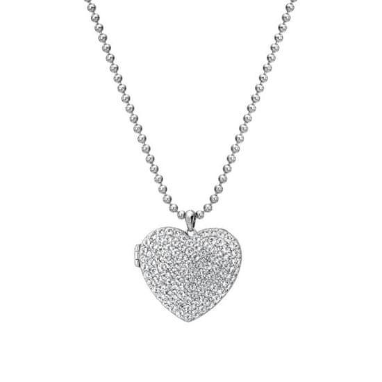 Hot Diamonds Ezüst szív nyaklánc gyémánt memóriákkal ellátott szívkapocsos DP770 ezüst 925/1000
