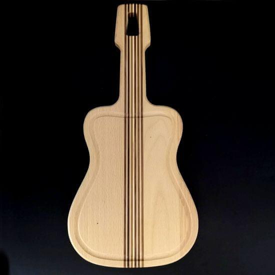 AMADEA Dřevěné prkénko s drážkou ve tvaru kytary, masivní dřevo, 42x20x2 cm