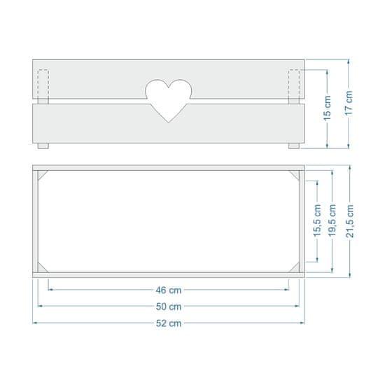 AMADEA Dřevěný obal na truhlík se srdcem, 52x21,5x17cm Český výrobek