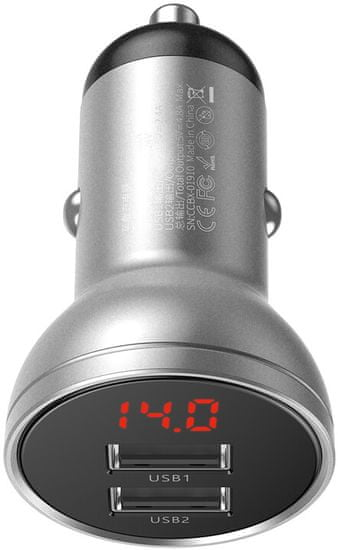 BASEUS Duálny USB adaptér do automobilu s displejom 4,8 A 24 W CCBX-0S, strieborná