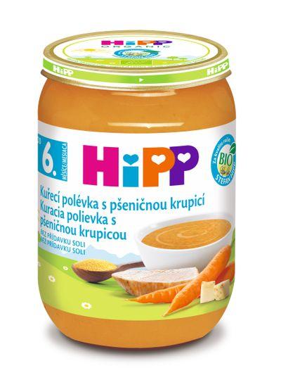 HiPP BIO Kuřecí polévka s pšeničnou krupicí - 6x190g