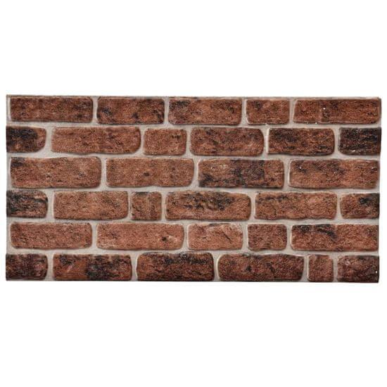 shumee Panele ścienne 3D, wzór ciemnobrązowej cegły, 11 szt., EPS
