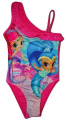 Nickelodeon Dívčí růžové jednodílné plavky s panenkou Shimmer and Shine., 104