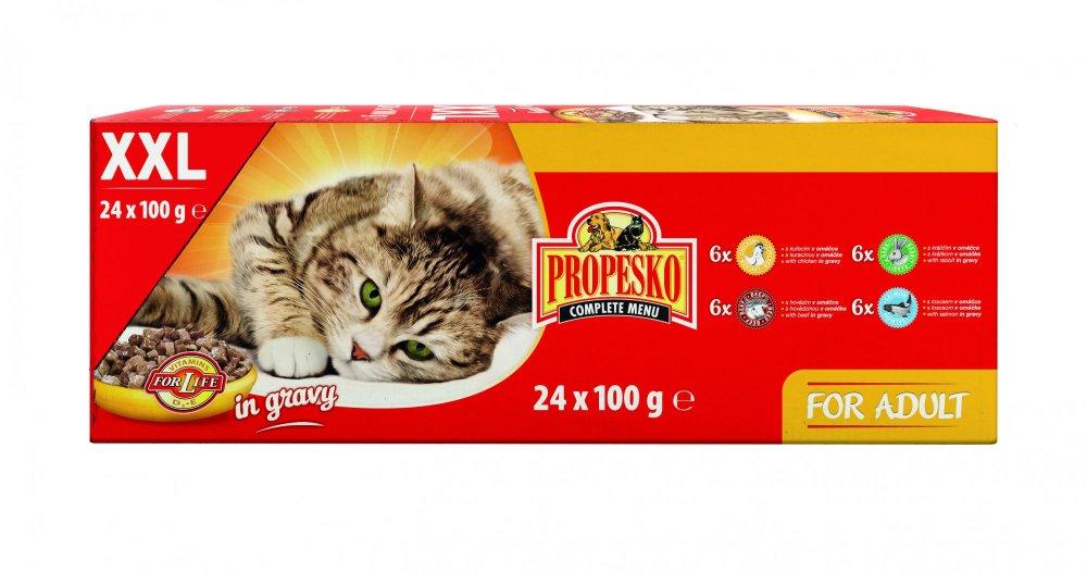 Propesko kapsa kočka kuře+hovězí+králík+losos 24x100 g