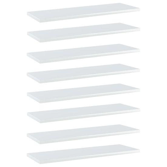 shumee Półki na książki, 8 szt., wysoki połysk, białe, 60x20x1,5 cm
