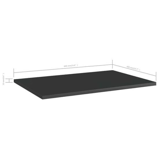 shumee 4 db magasfényű fekete forgácslap könyvespolc 60 x 40 x 1,5 cm