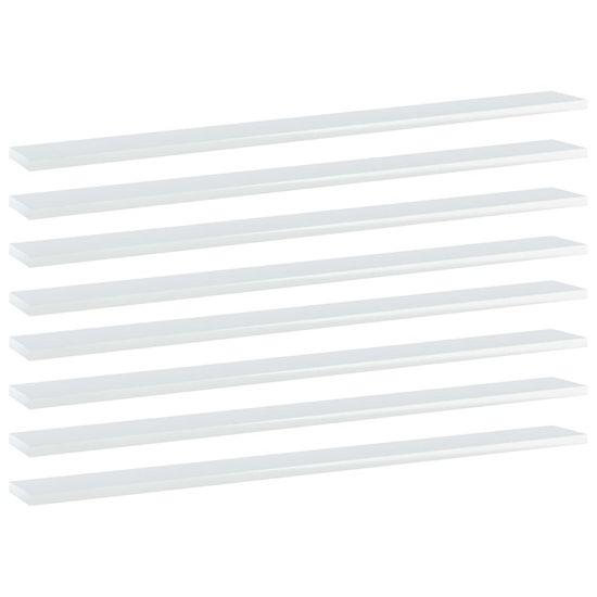 shumee Dodatne police za omaro 8 kosov visok sijaj bele 100x10x1,5 cm