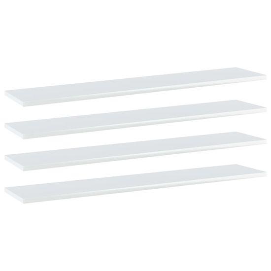 shumee Półki na książki, 4 szt., wysoki połysk, białe, 100x20x1,5 cm