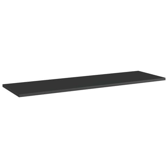 shumee Dodatne police za omaro 4 kosi visok sijaj črne 100x30x1,5 cm