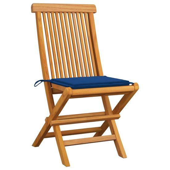 shumee Záhradné stoličky, modré podložky 4 ks, tíkový masív