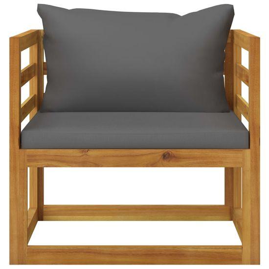 shumee Vrtni stol s temno sivimi blazinami iz akacijevega lesa