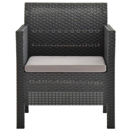 shumee Záhradná stolička s vankúšom PP antracitová