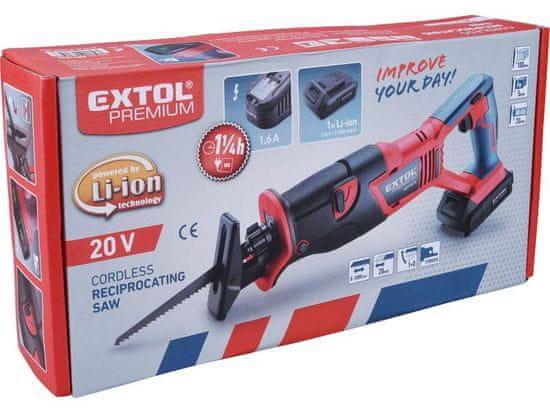 Extol Premium Chvostová píla akumulátorová Share 20V, 1x 2Ah Li-ion, 1,6 A nabíjačka, dlžka kmitu 20mm