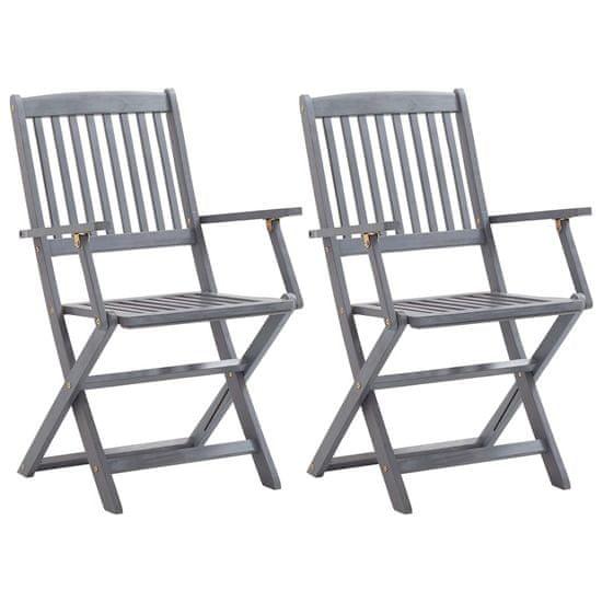 shumee skladacie záhradné stoličky 2 ks vankúše z agátového dreva