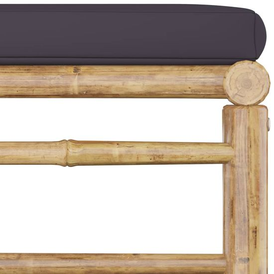 shumee 4-cz. zestaw mebli do ogrodu, ciemnoszare poduszki, bambus