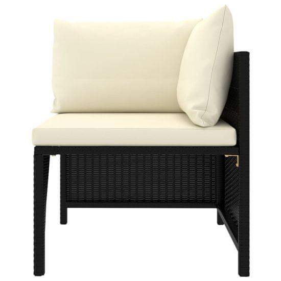 Greatstore Vrtna sedežna garnitura z blazinami 10-delna poli ratan črna
