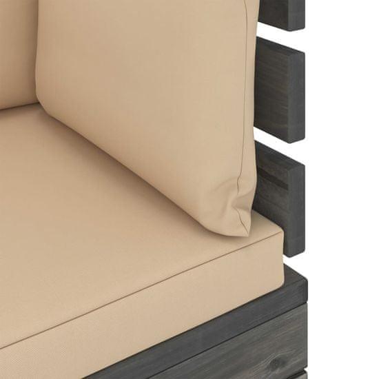 shumee Vrtni kotni kavč iz palet z blazinami borovina