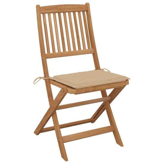 Greatstore Skladacie záhradné stoličky s podložkami 2 ks akáciový masív