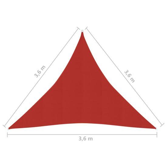 shumee Żagiel przeciwsłoneczny, 160 g/m², czerwony, 3,6x3,6x3,6m, HDPE