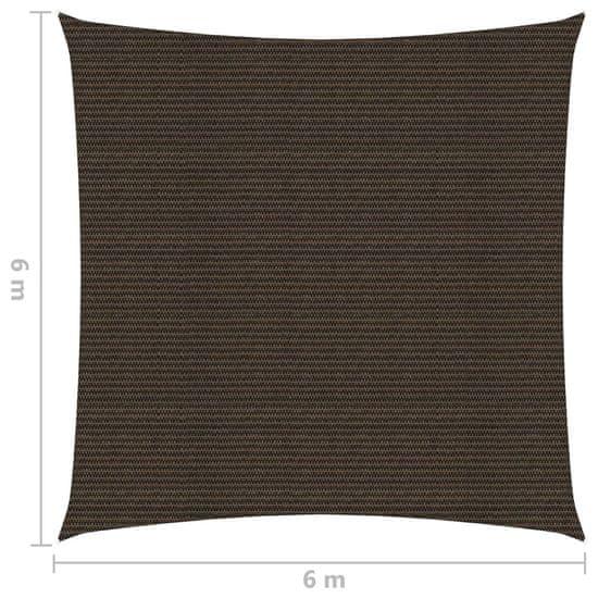 Greatstore Senčno jadro 160 g/m² rjavo 6x6 m HDPE