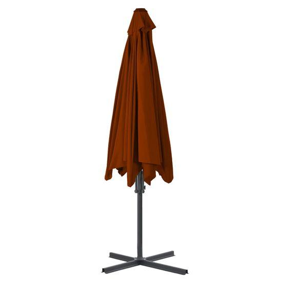 Greatstore Vonkajší slnečník s oceľovou tyčou, tehlový 300x230 cm