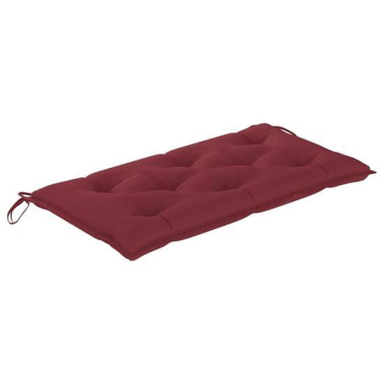 shumee Vrtna klop z vinsko rdečo blazino 112 cm trdna tikovina