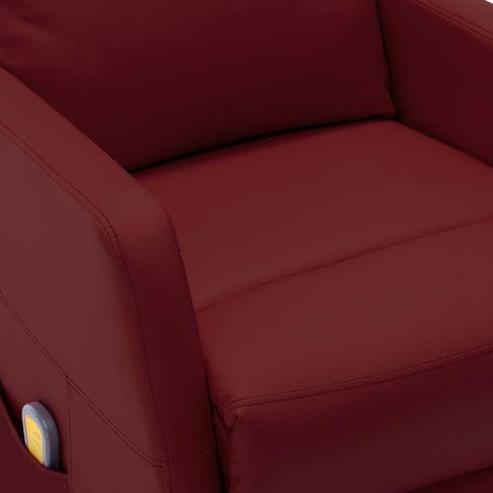 Greatstore Sklápacie masážne kreslo vínovo-červené umelá koža