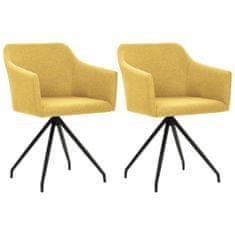 shumee Vrtljivi jedilni stoli 2 kosa gorčično rumeno blago