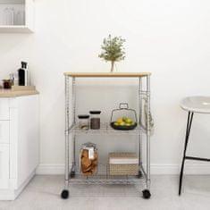shumee 3-nadstropni kuhinjski voziček 61x36x85 cm kromirano železo