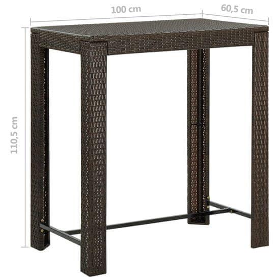shumee barna polyrattan kerti bárasztal 100 x 60,5 x 110,5 cm