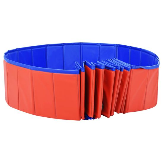 shumee Zložljiv bazen za pse rdeč 300x40 cm PVC