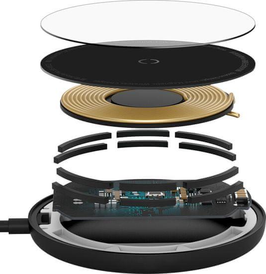 BASEUS ładowarka indukcyjna Simple Mini + kabel Type-C 1,5 m (kompatybilny z iPhone 12) WXJK-F01, czarna
