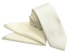 ORSI Slovakia Svadobná bielo-zlatá kravata s vreckovkou