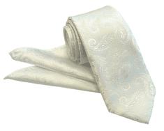 ORSI Slovakia Svadobná biela paisley kravata s vreckovkou