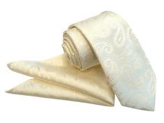 ORSI Slovakia Svadobná béžová paisley kravata s vreckovkou