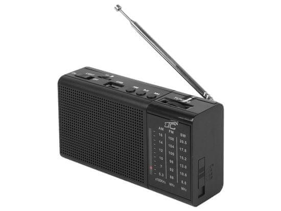 LTC Prenosni radio LTC z USB, TF, AUX, mini LED svetilko in baterijo črne barve