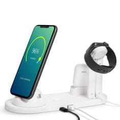 bewello Polnilna postaja z brezžičnim polnilcem za mobilne telefone, ure, slušalke - bela