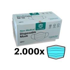 Higienska maska 3-slojna - 2.000 kosov (40 škatel po 50 mask v paketu)